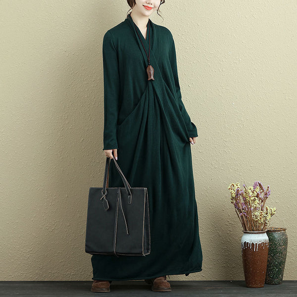 Autumn Knitted Green Long Dress For Women - Buykud