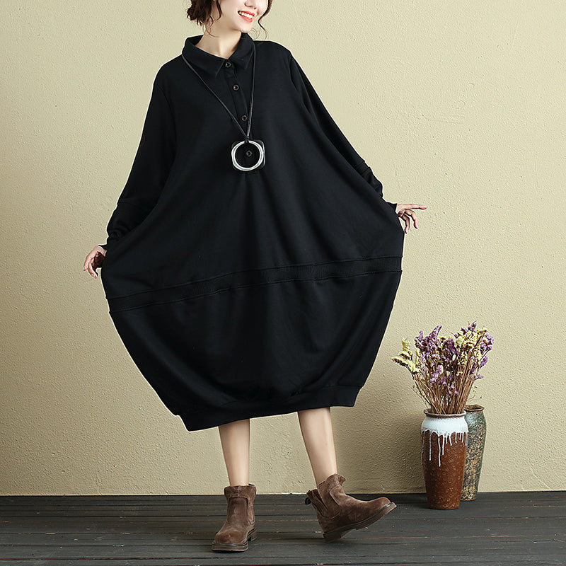 Long Sleeve Casual Loose Baggy Autumn Black Dress For Women - Buykud