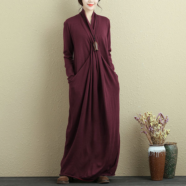 Autumn Knitted Red Long Dress For Women - Buykud