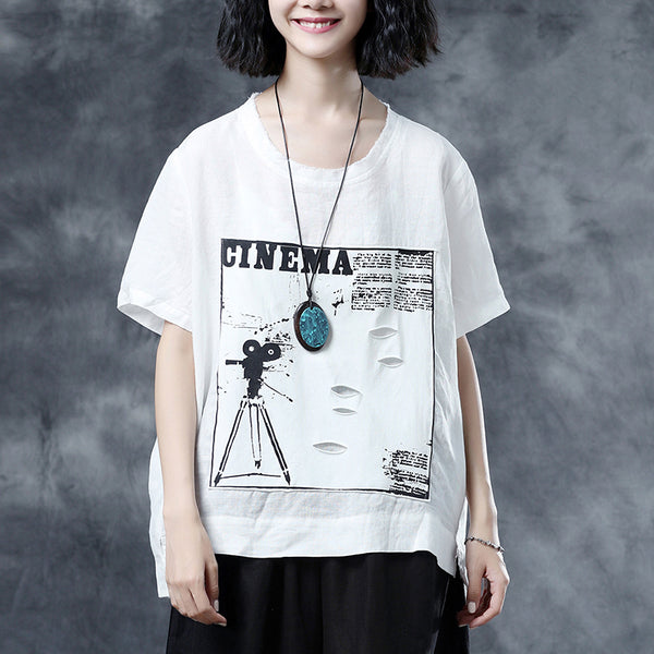 White Short Sleeve Summer Casual Fashion Linen Blouse