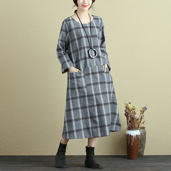 Round Neck Loose Casual Plaid Autumn Dress For Women - Buykud