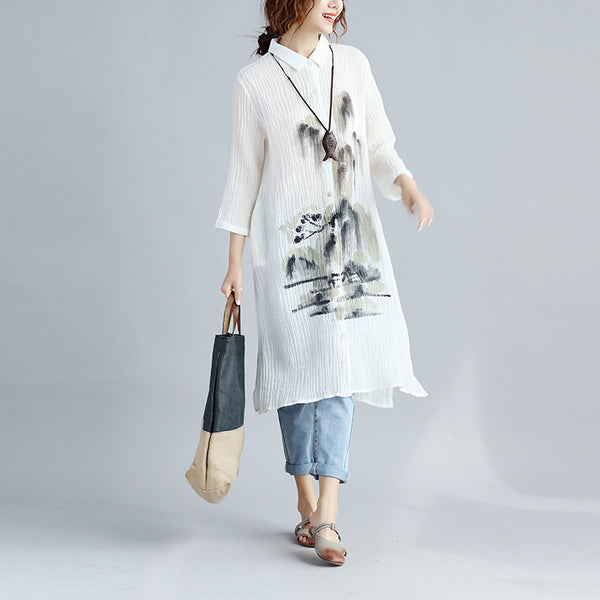 Folded Women Loose Printing White Shirt Dress