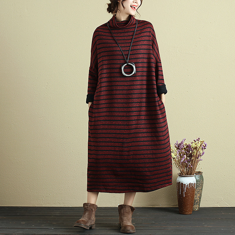 Winter Turtleneck Long Sleeve Stripe Casual Dress For Women - Buykud