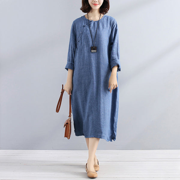 Fashionable Chic Frogs Long Sleeves Women Dark Blue Lattice Dress