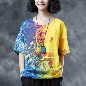 Short Sleeve Printing Loose Summer Casual Fashion Blouse