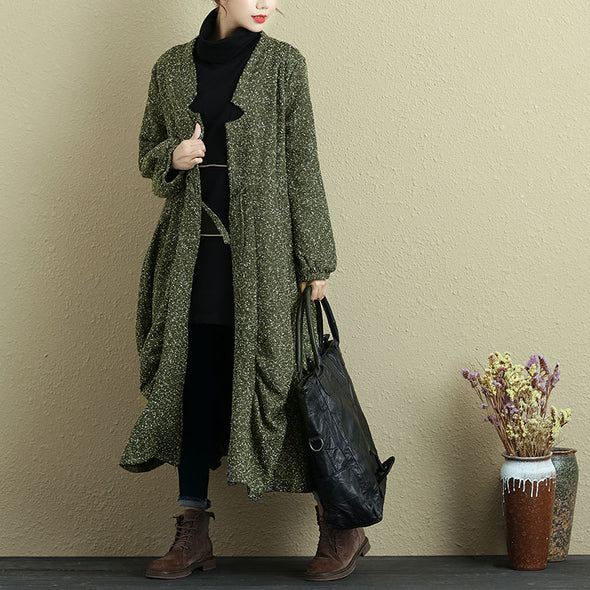 Women Lacing Long Sleeve Pleated Casual Coat - Buykud