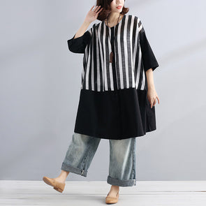 Round Neck Splicing Stripe Women Casual Dress - Buykud