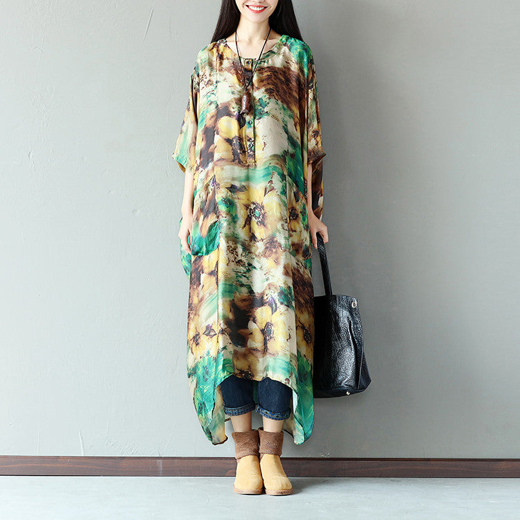 Women Casual Button Pocket Strap Silk Green Dress