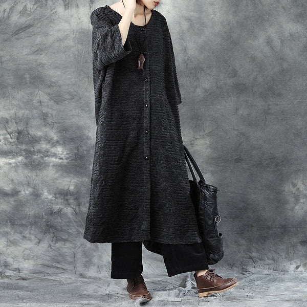 Winter Women Round Neck Three Quarter Sleeve Single Breasted Wool Coat - Buykud