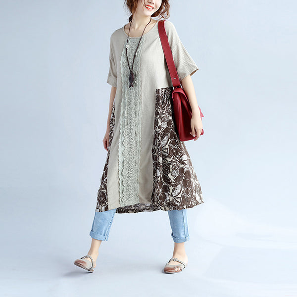 Linen Splicing Women Loose White Cotton Shirt - Buykud