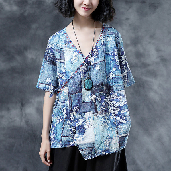 Floral Loose Summer V-Neck Short Sleeve Blue Lacing Blouse