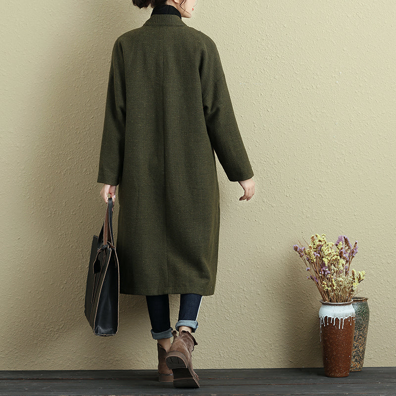 Women Long Sleeve Pockets Button Slit Green Coat - Buykud