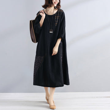 Women Cotton Linen Splicing Long Sleeves Loose Black Dress - Buykud