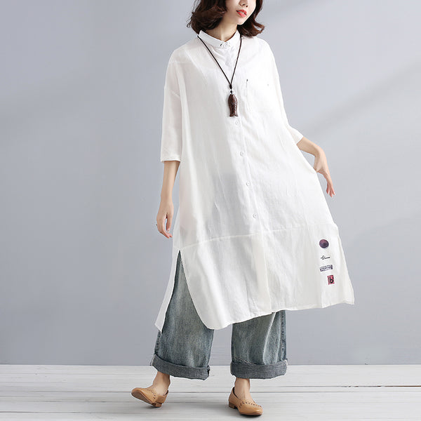 Summer Cotton Linen Casual Loose Exotic Half Sleeves White Shirts - Buykud
