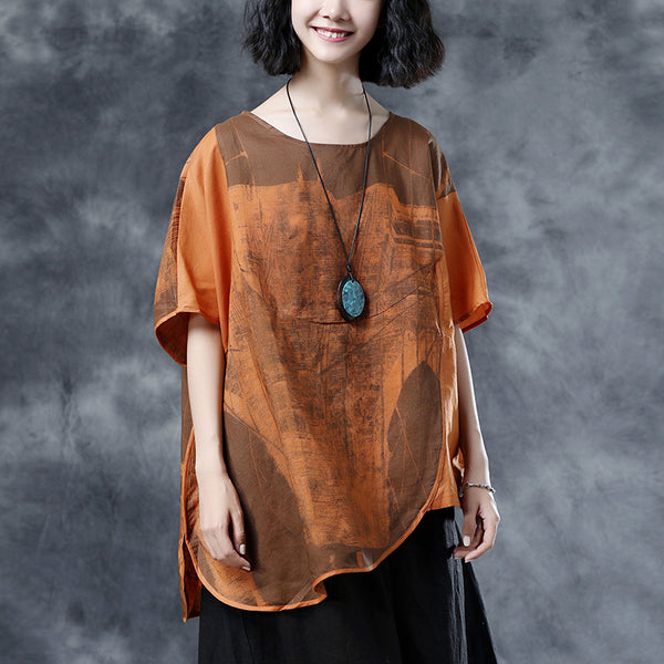 Loose Brown Ramie Summer Blouse Short Sleeve Tops
