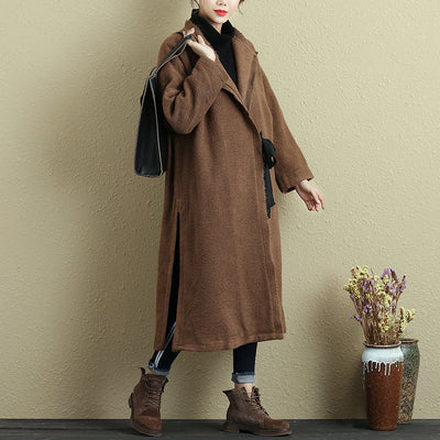 Women Lacing Long Sleeve Side Slit Raw-Edge Trim Coat - Buykud