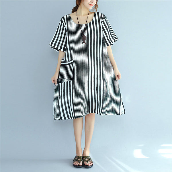 Black And White Stripes Short Sleeve Pocket Casual Women Dress - Buykud