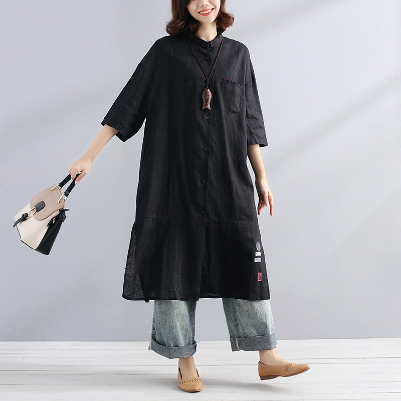 Summer Cotton Linen Casual Loose Exotic Half Sleeves Blue Shirts - Buykud