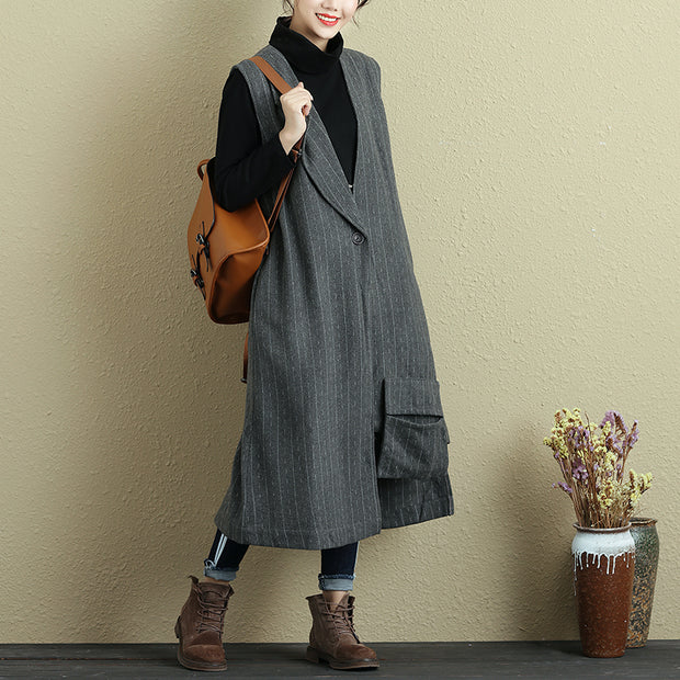 Women Button Sleeveless Stripe Pockets Irregular Gray Long Vest - Buykud