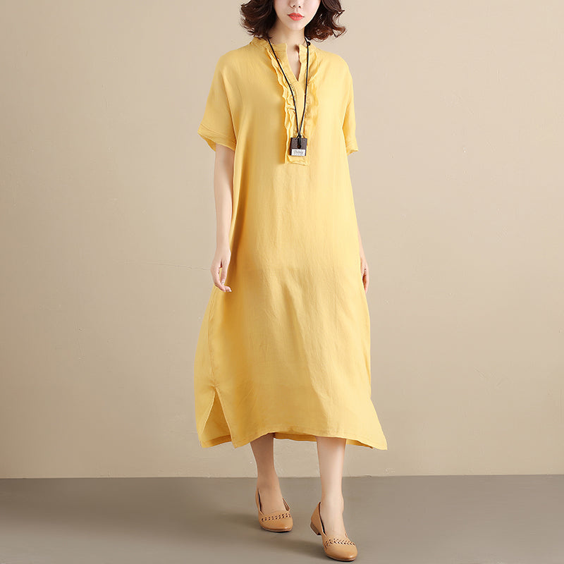 Literature Chic Applique Short Sleeves Loose Splitting Women Yellow Dress - Buykud