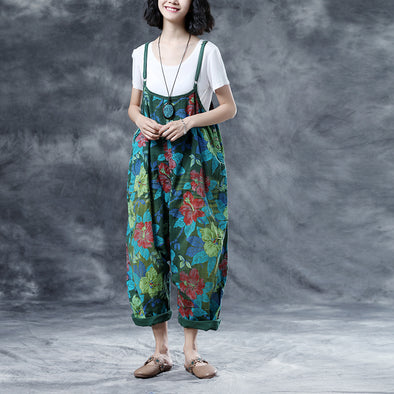 Summer Casual Floral Pockets Women Green Jumpsuits