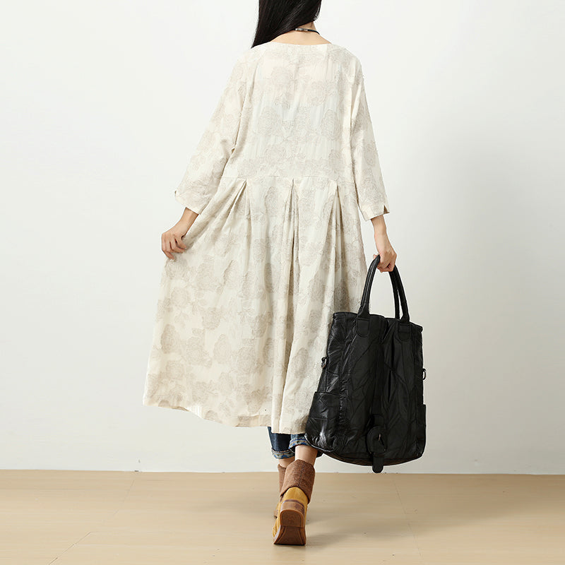 Exquisite Embroidered Women Round Neck Shoulder Sleeve Folded Dress - Buykud