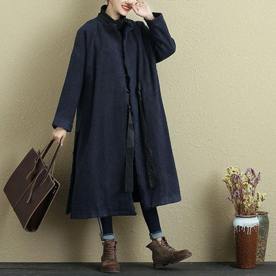 Women Spring Autumn Lacing Long Sleeve Side Slit Coat