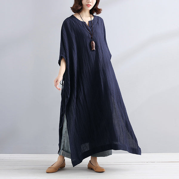 Summer V Neck Slit Loose Casual Navy Blue Dress - Buykud