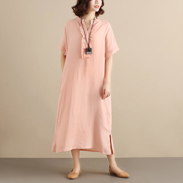 Literature Chic Applique Short Sleeves Loose Splitting Women Pink Dress - Buykud