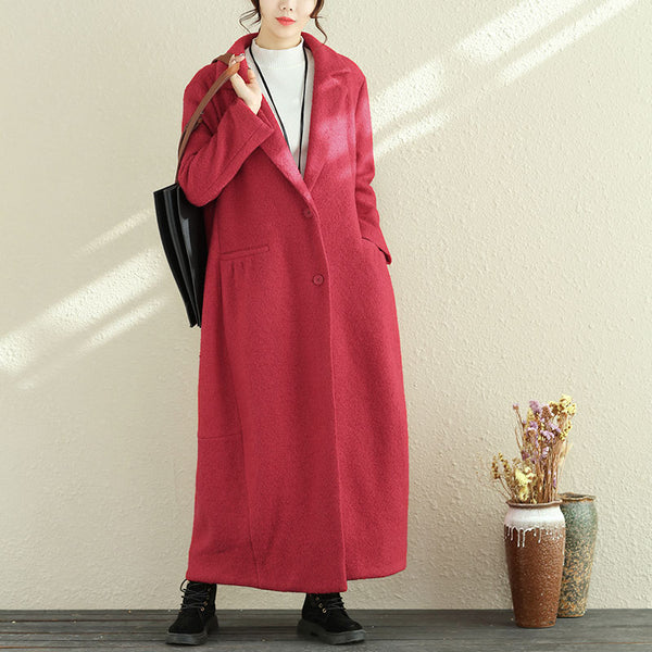 Women Polo Collar Long Sleeve Winter Woolen Long Coat