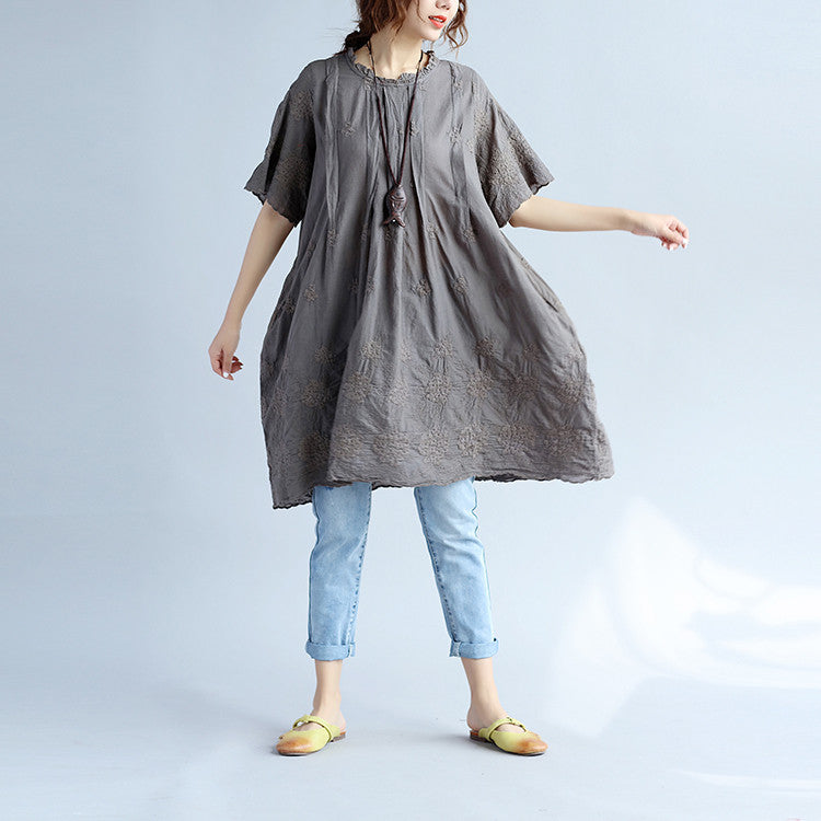 Retro Folded Women Cotton Loose Embroidered Gray Shirt