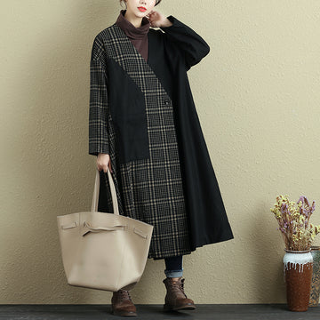 Women Long Sleeve Button Lattice Pocket Coat - Buykud
