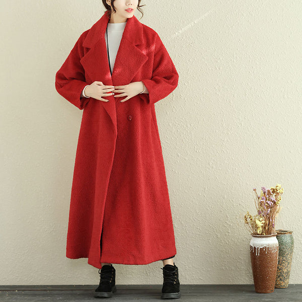 Loose Woolen Women Winter Polo Collar Red Long Coat