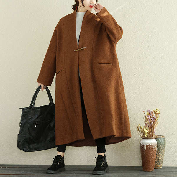 Casual Women Woolen Overcoat Loose Khaki Winter Coat - Buykud