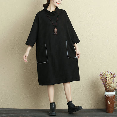 Autumn Double Pocket Loose Black Dress For Women - Buykud