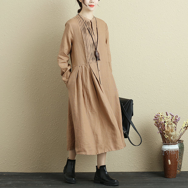Autumn Long Sleeve Cotton Linen Khaki Dress For Women - Buykud