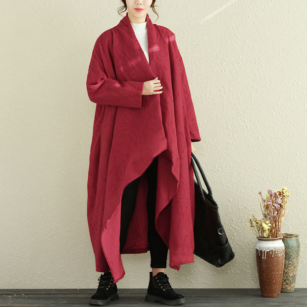 Loose Large Size Women Winter Long Sleeve Red Cardigan Coat - Buykud