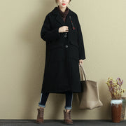 Fashion Loose Polo Collar Long Sleeve Double Pocket Black Coat For Women - Buykud