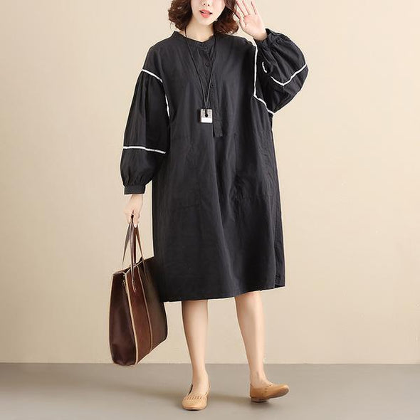 Chic Splicing Round Neck Pleated Long Sleeves Loose Women Dress