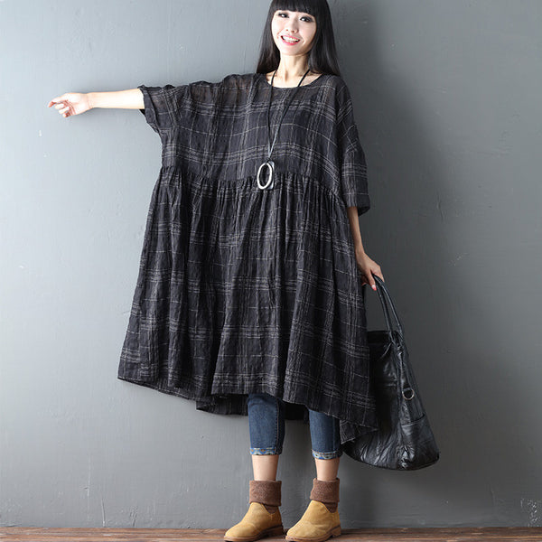 Linen Lattice Women Casual Loose Short Sleeve Black Dress
