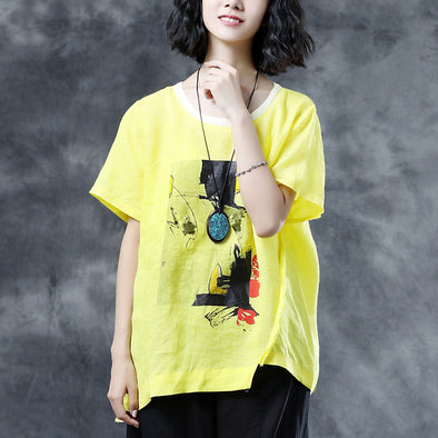 Linen Irregular Hem Loose Summer Women Yellow Blouse