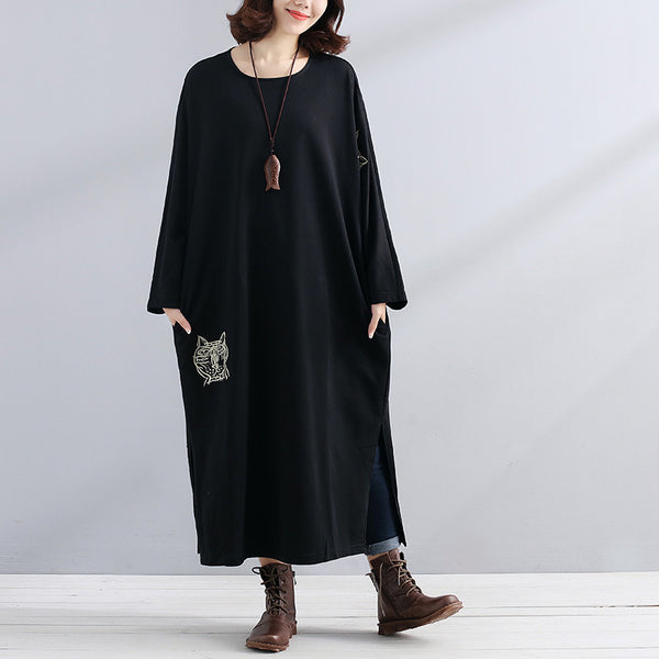 Women Black Long Sleeve Embroidery Pockets Side Slit Dress - Buykud