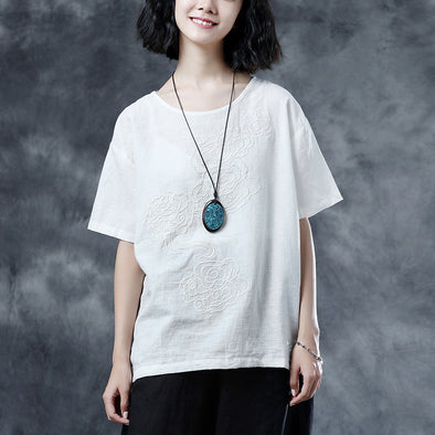 Casual Summer Short Sleeve Embroidery White Blouse