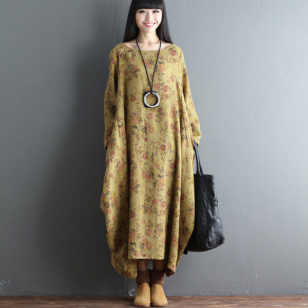 Printing Retro Irregular Floral Loose Casual Cotton Linen Yellow Dress