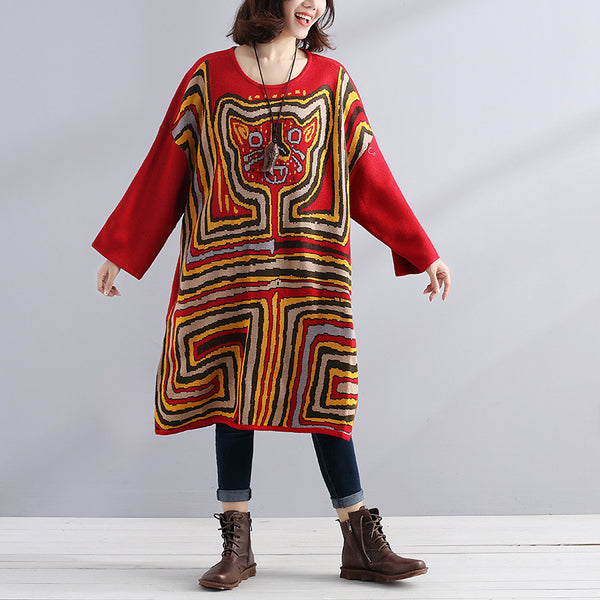 Women Autumn Loose Exotic Colorful Long Sleeves Sweater - Buykud