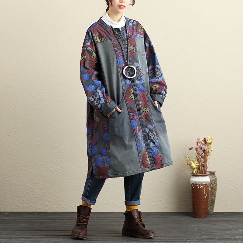 Printing Loose Round Neck Casual Autumn Blue Coat For Women - Buykud
