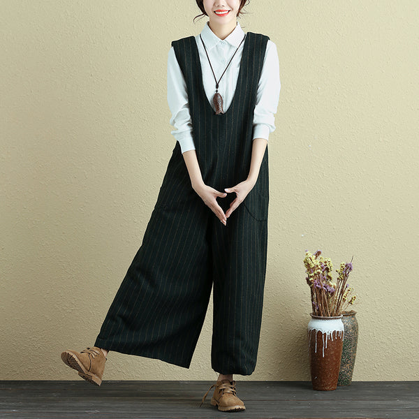 Fashionable Women Vertical Stripe With Pocket Green Rompers Jumpsuit - Buykud