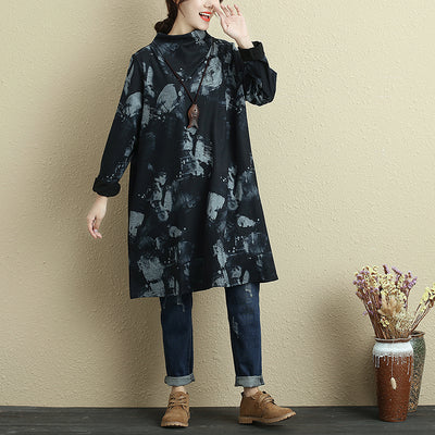 Women Autumn Mock Neck Long Sleeve Printing Pockets Black Dress - Buykud