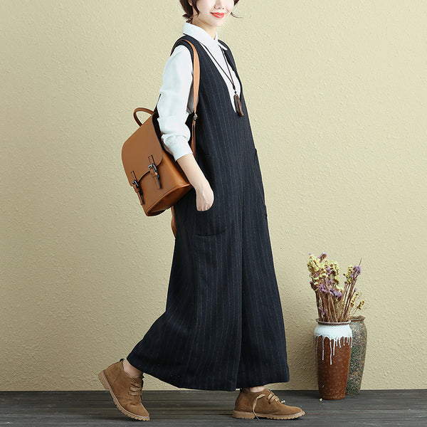 Fashionable Women Vertical Stripe With Pocket Blue Rompers Jumpsuit - Buykud