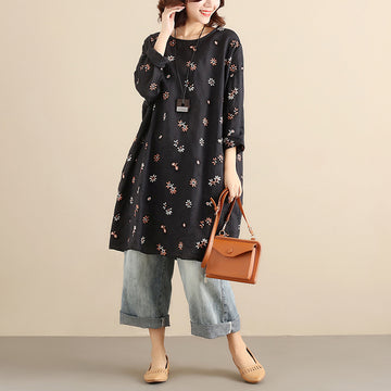 Cotton Floral Women Casual Loose  Round Collar Long Sleeves Black Dress - Buykud